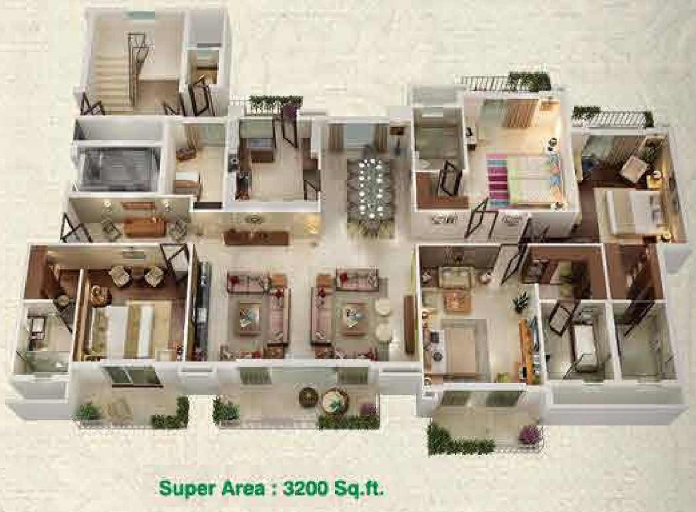 3200 sq ft 4 bhk 4t apartments in ats le grandiose for 3200 sq ft house plans