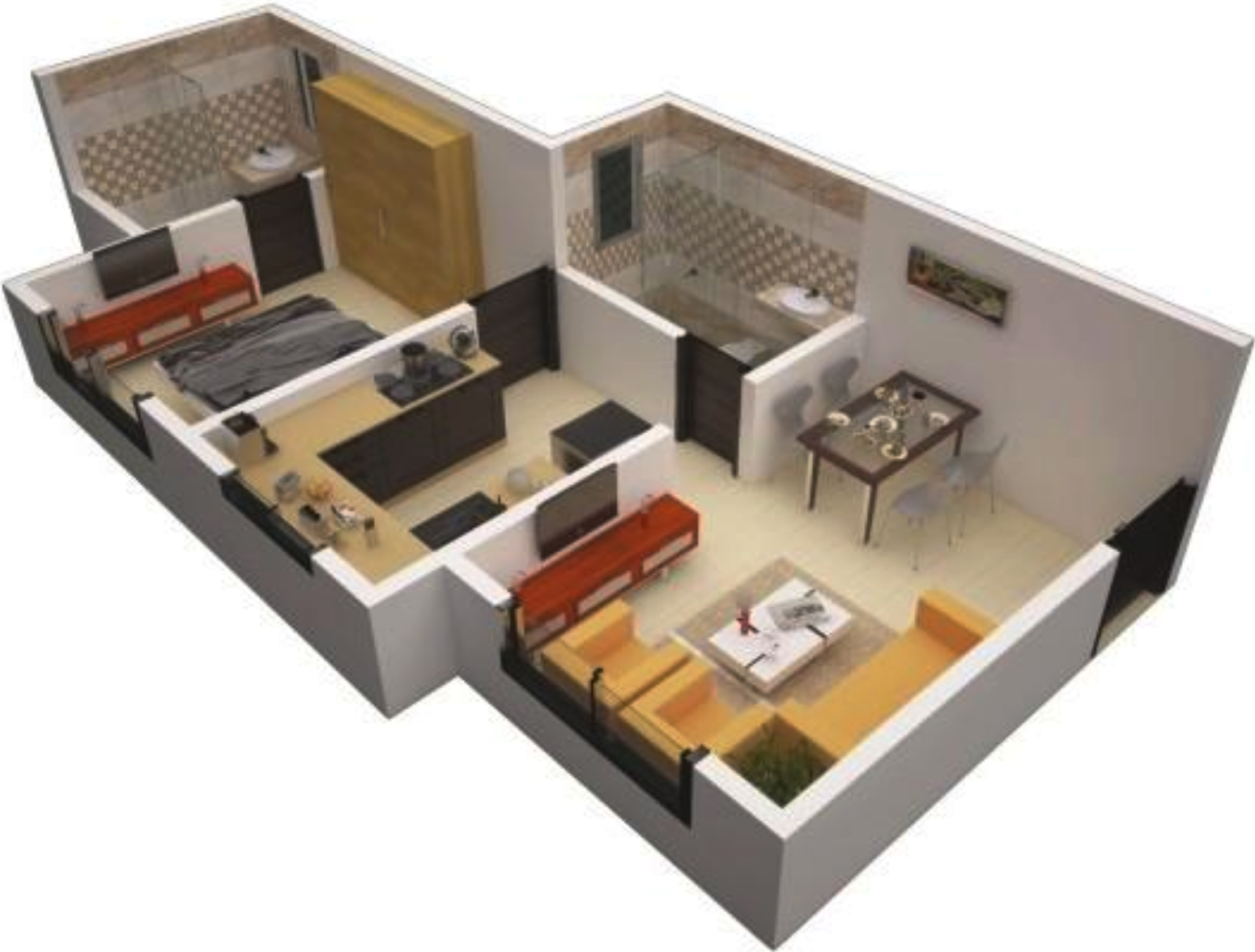600 sq ft 1 bhk 2t apartment for sale in oyster living for Interior design 600 sq ft flat