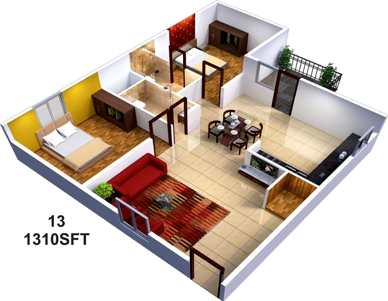 1310 sq ft 2 bhk 2t apartment for sale in sai sumukha for 9 ft room design