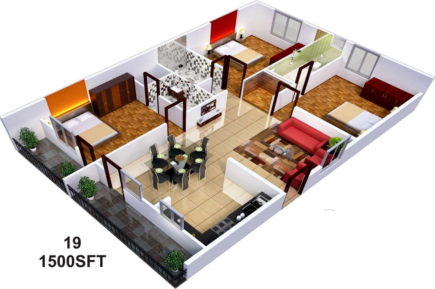 1500 sq ft 3 bhk 3t apartment for sale in sai sumukha for Plan of 3bhk house