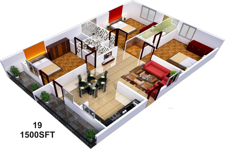 1500 Sq Ft 3 Bhk 3t Apartment For Sale In Sai Sumukha Properties Telecom Clusters Banashankari
