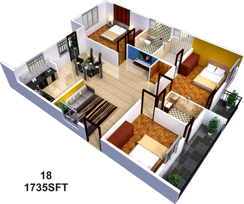 2 Bhk Home Design Ideas: 1500 Sq Ft 3 BHK 3T Apartment For Sale In Sai Sumukha