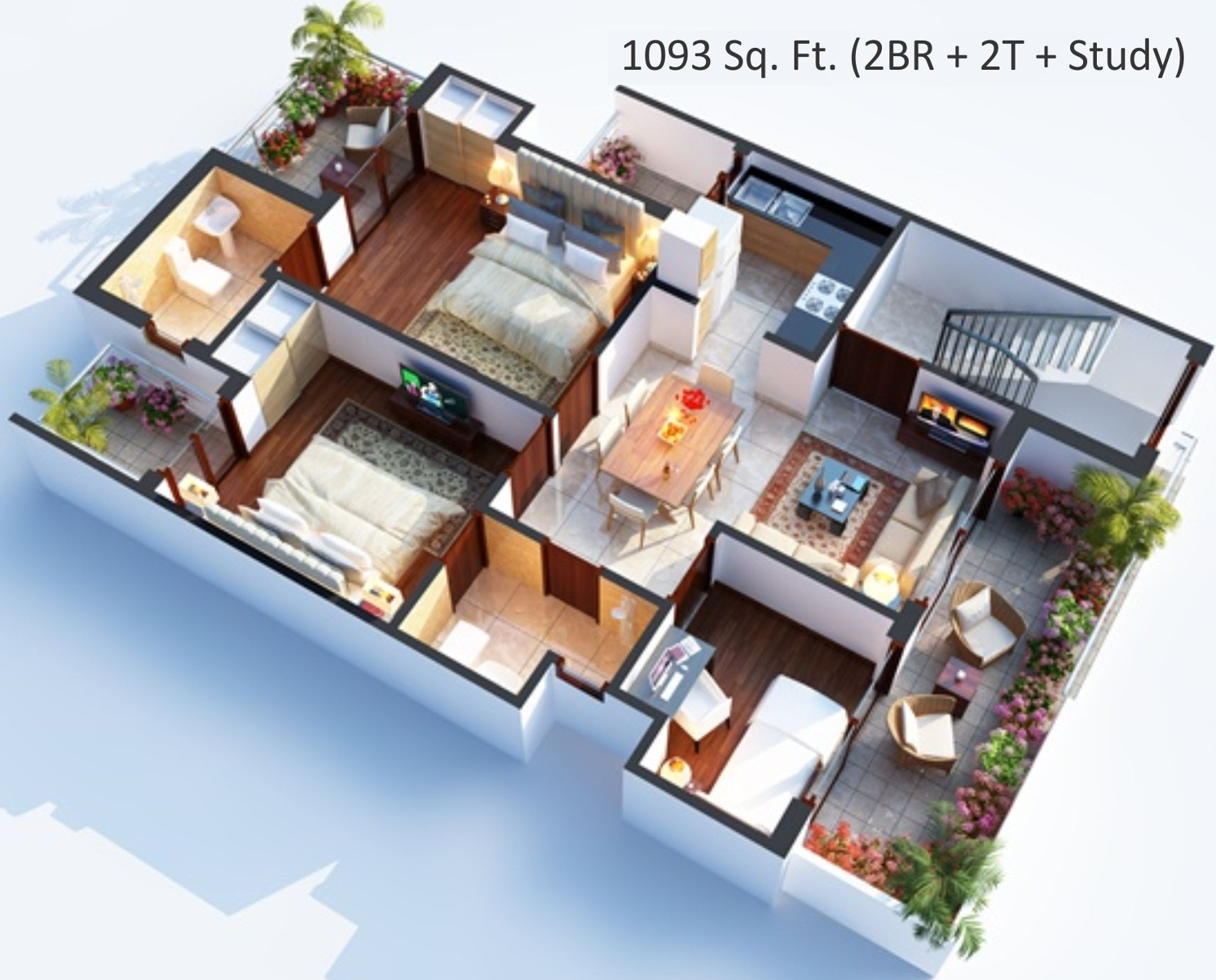 1093 Sq Ft 2 Bhk 2t Apartment For Sale In Central Park