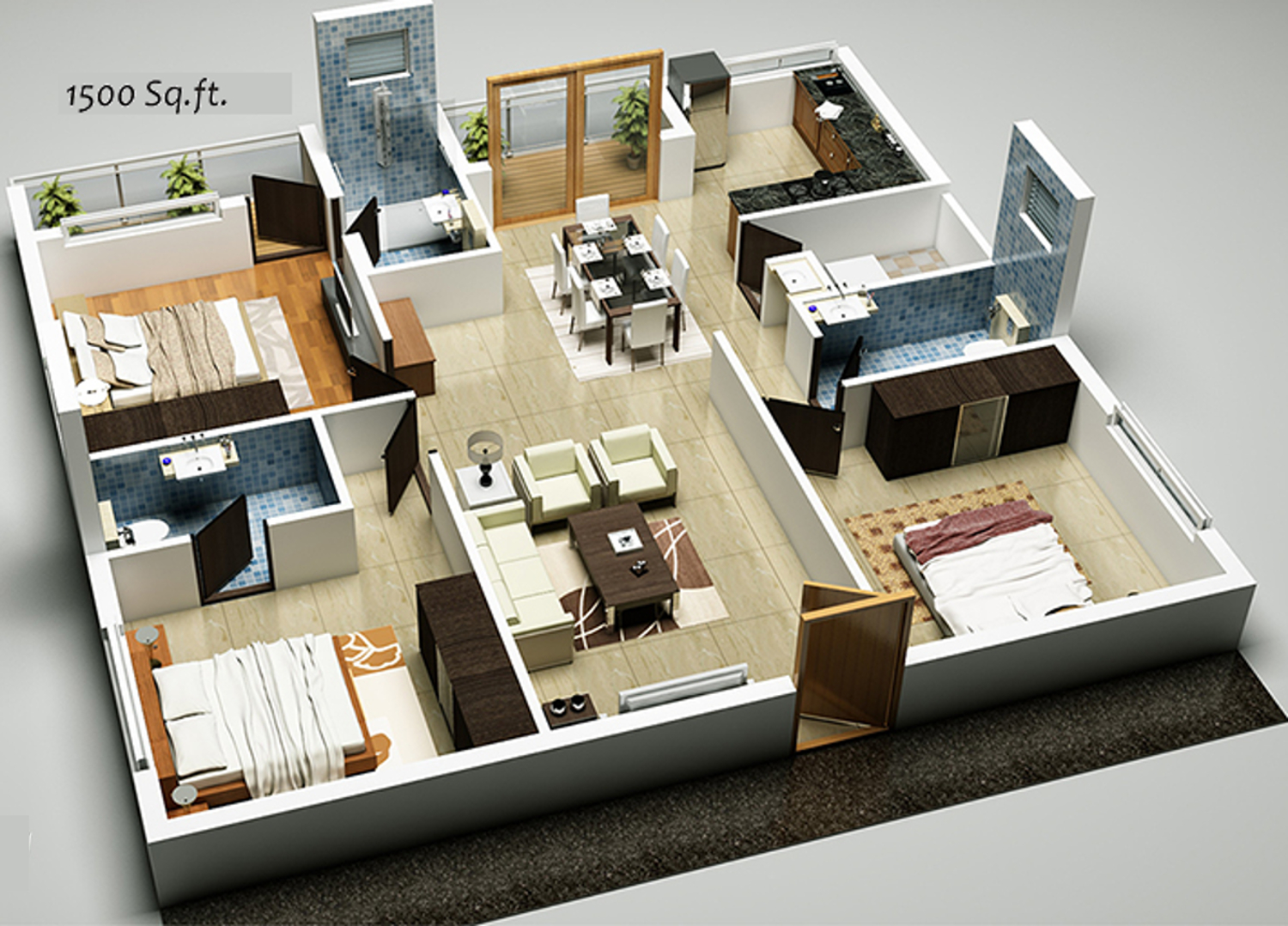 1500 sq ft 3 bhk 3t apartment for sale in sv infra maple for 3d house plans in 1000 sq ft