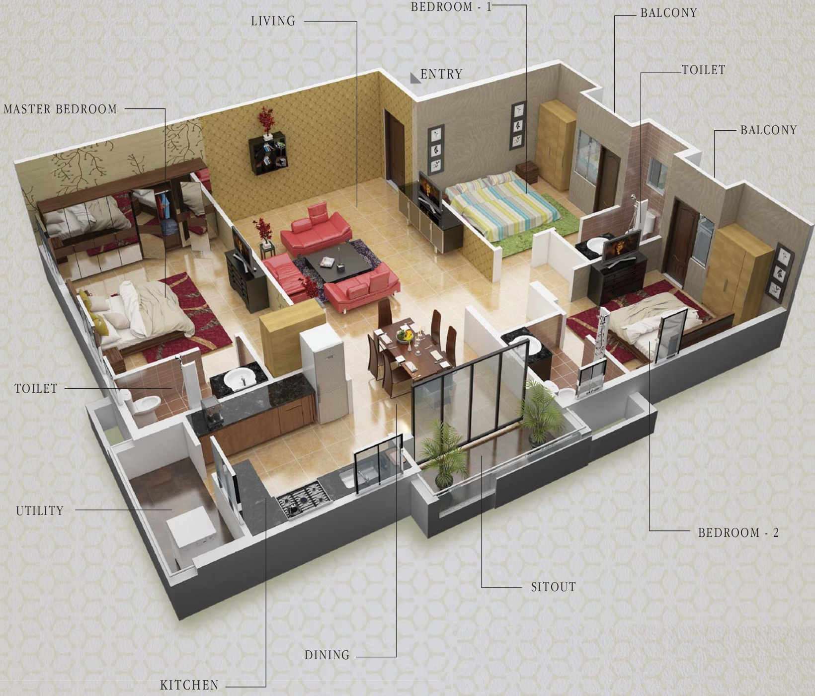 3d house plans indian style north facing escortsea for 2 bedroom house plans indian style