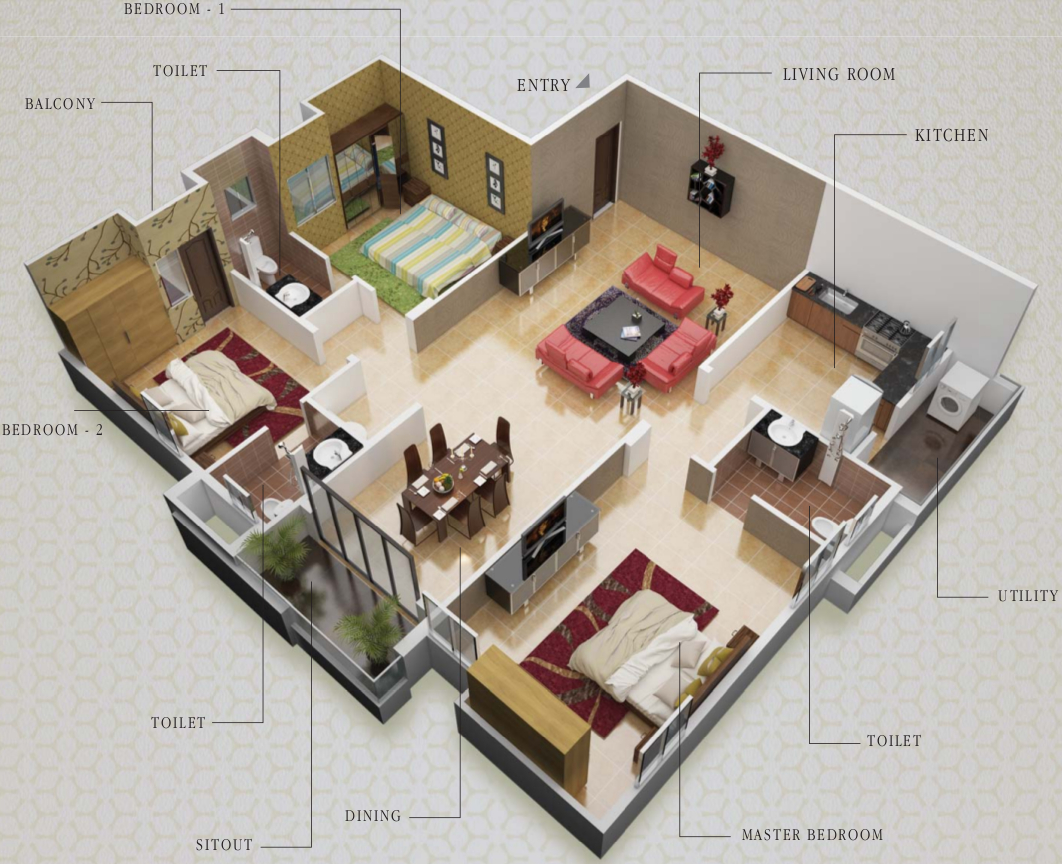 House plans 800 sq ft india - 1825 Sq Ft 3 Bhk 3t East Facing Resale Apartment On 2nd