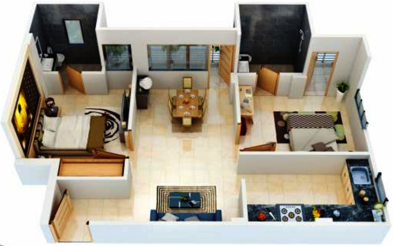 3d house plans in 1200 sq ft escortsea Home interior design ideas in chennai