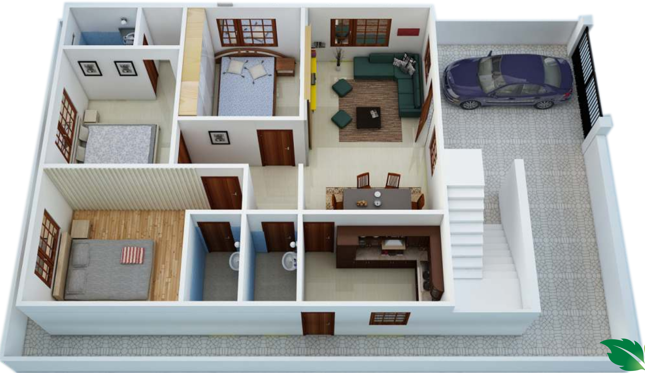 1272 sq ft 3 bhk 3t villa for sale in pride india for 2 bedroom house designs in india