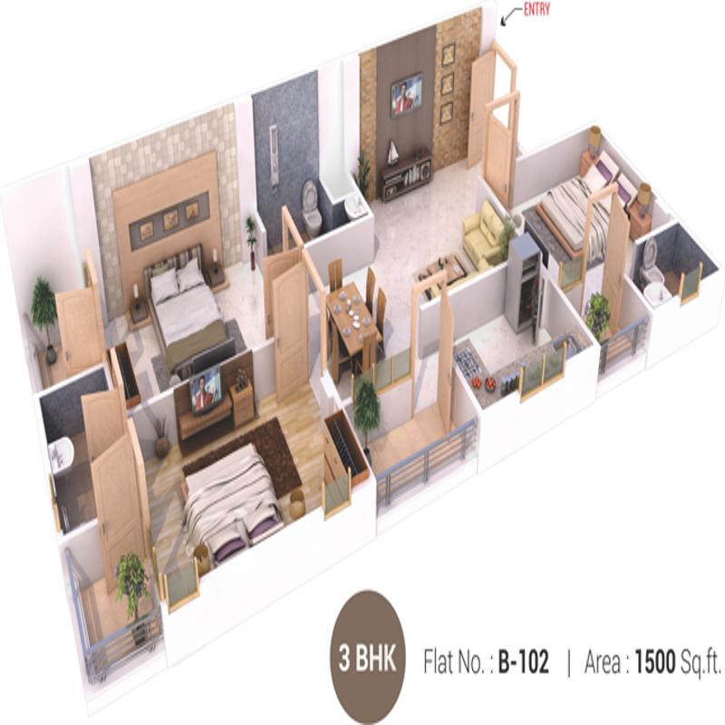1500 Sq Ft 3 Bhk 3t Apartment For Sale In Aradhana Buildtech Bhavyaa Glory Jagatpura Jaipur