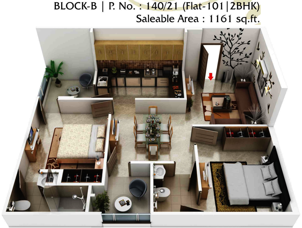 Foresta Floor Plan 1161 Sq Ft 2 Bhk 2t Apartment For Sale In Aashish Group