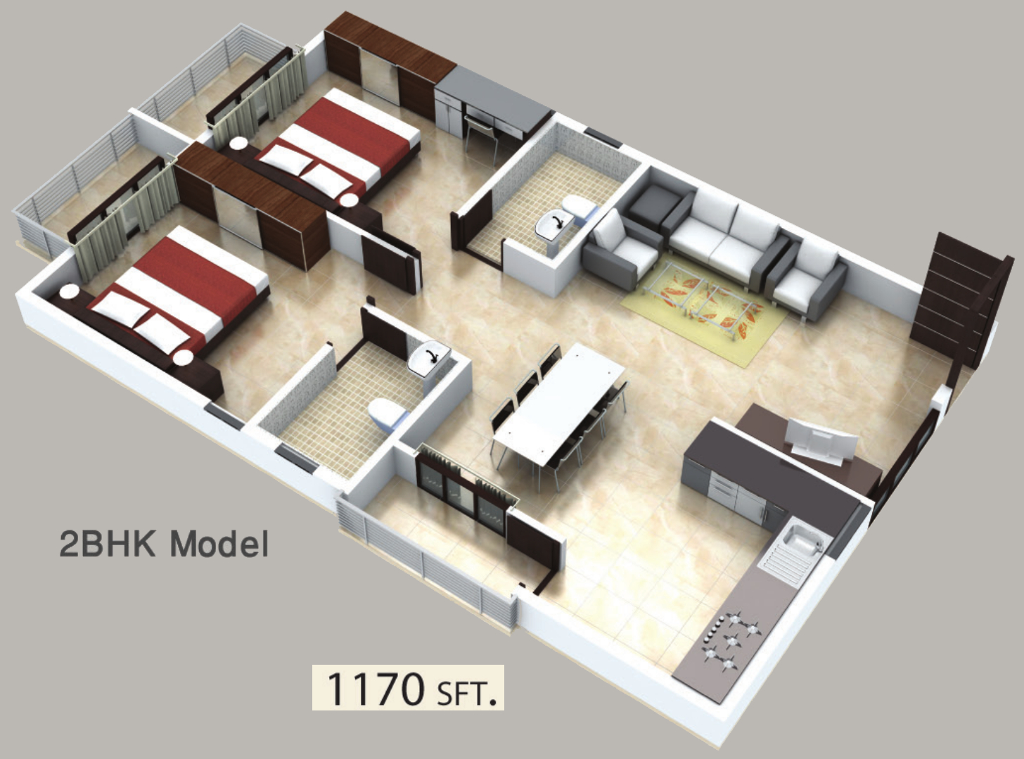 1170 sq ft 2 bhk 2t east facing resale apartment on for In plan 3d