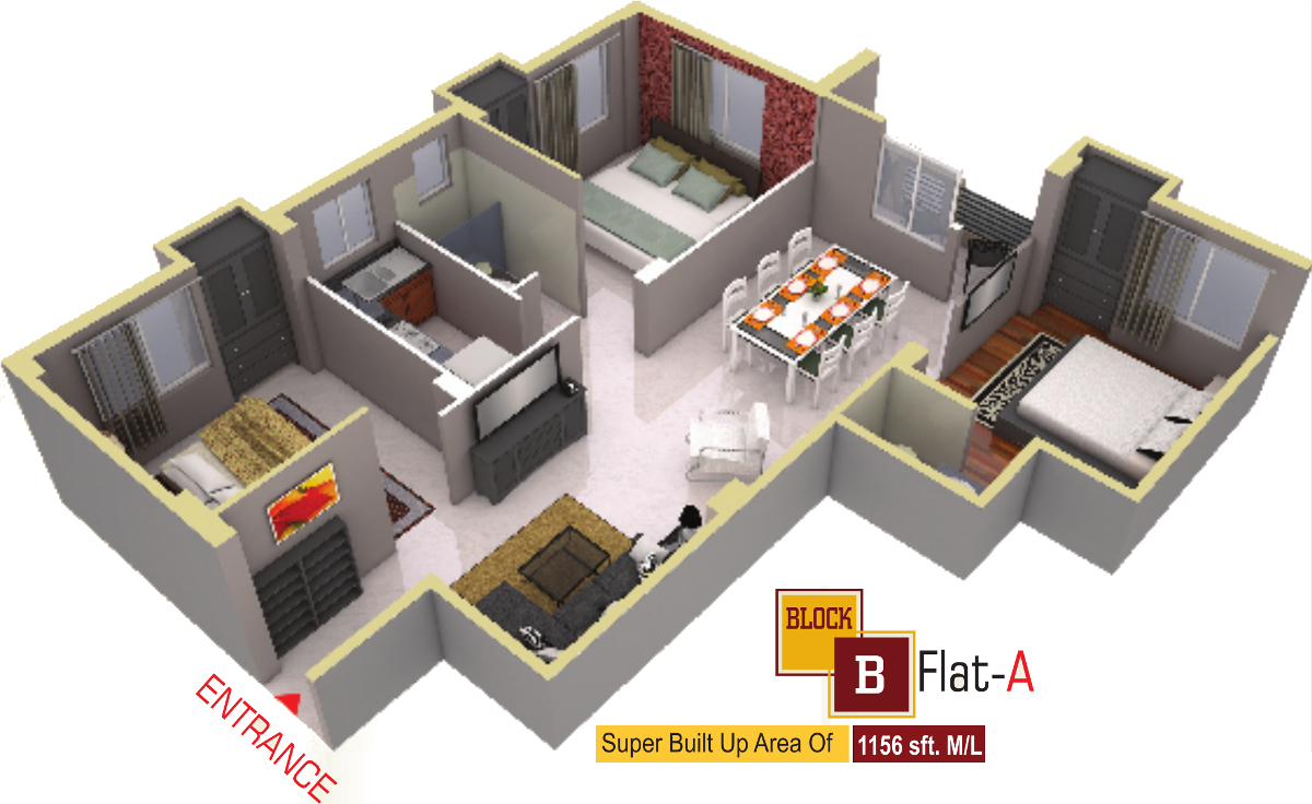 1156 sq ft 3 BHK 1T Apartment for Sale in Aatreyee Nirman