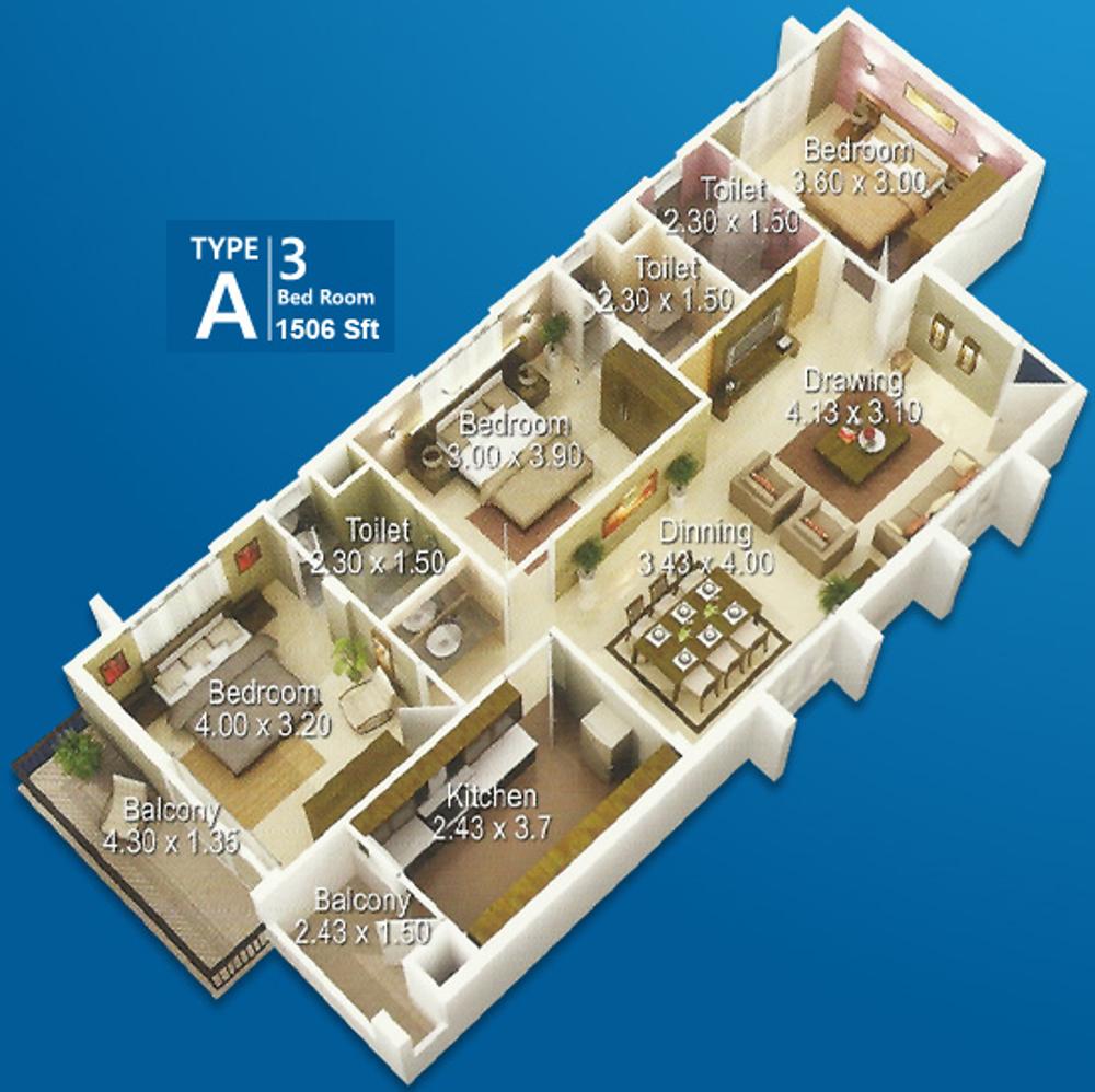 1506 Sq Ft 3 Bhk 3t Apartment For Sale In Yasoram Builder