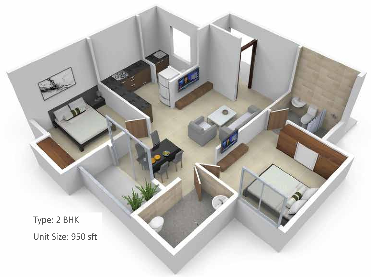 950 Sq Ft 2 Bhk 2t Apartment For Sale In Subha Builders 9