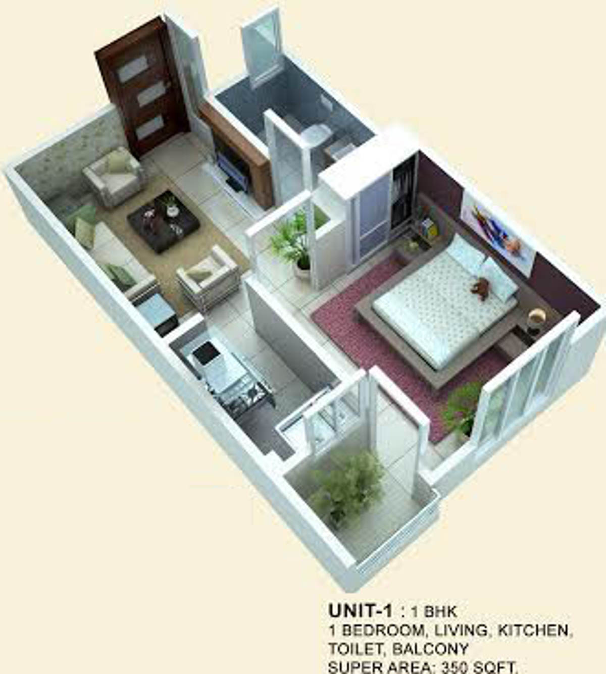 350 square feet apartment floor plan