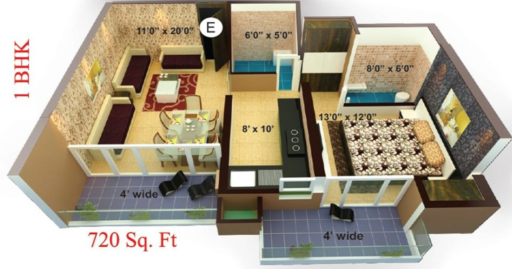 720 Sq Ft Apartment Floor Plan Of 1250 Sq Ft 2 Bhk 2t Apartment For Sale In Shree Sai Baba