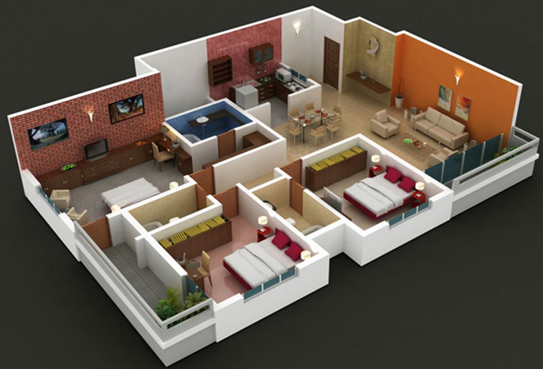 3 bed floor plan
