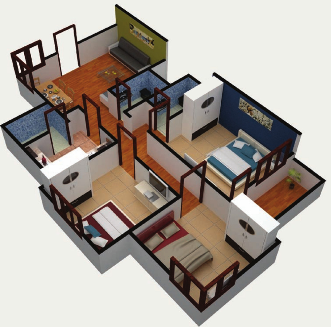 3d design kitchen 1083 sq ft 3 bhk 2t apartment for in paras lifestyles 1083