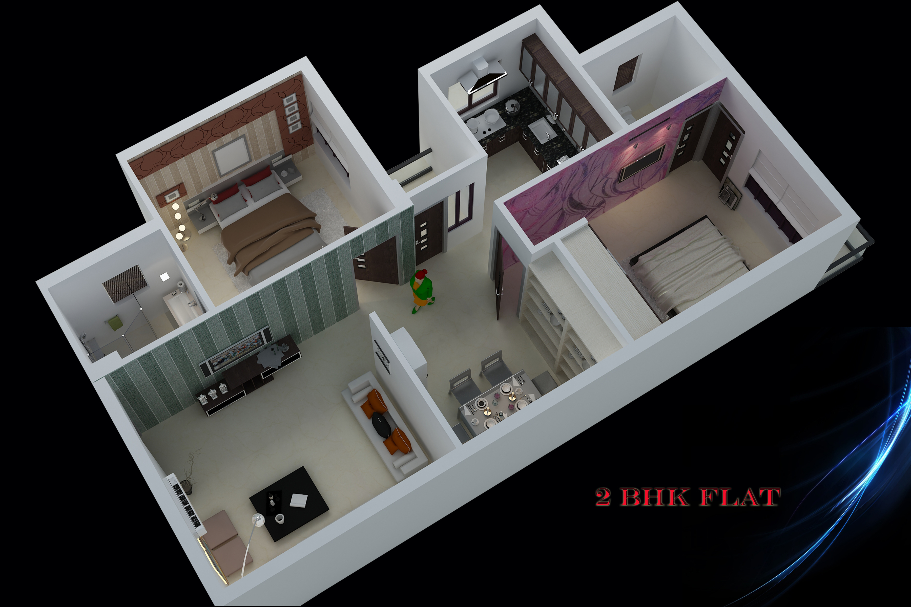 1175 sq ft 2 bhk 2t apartment for sale in miraj group for Interior decoration pictures 2 bhk flats