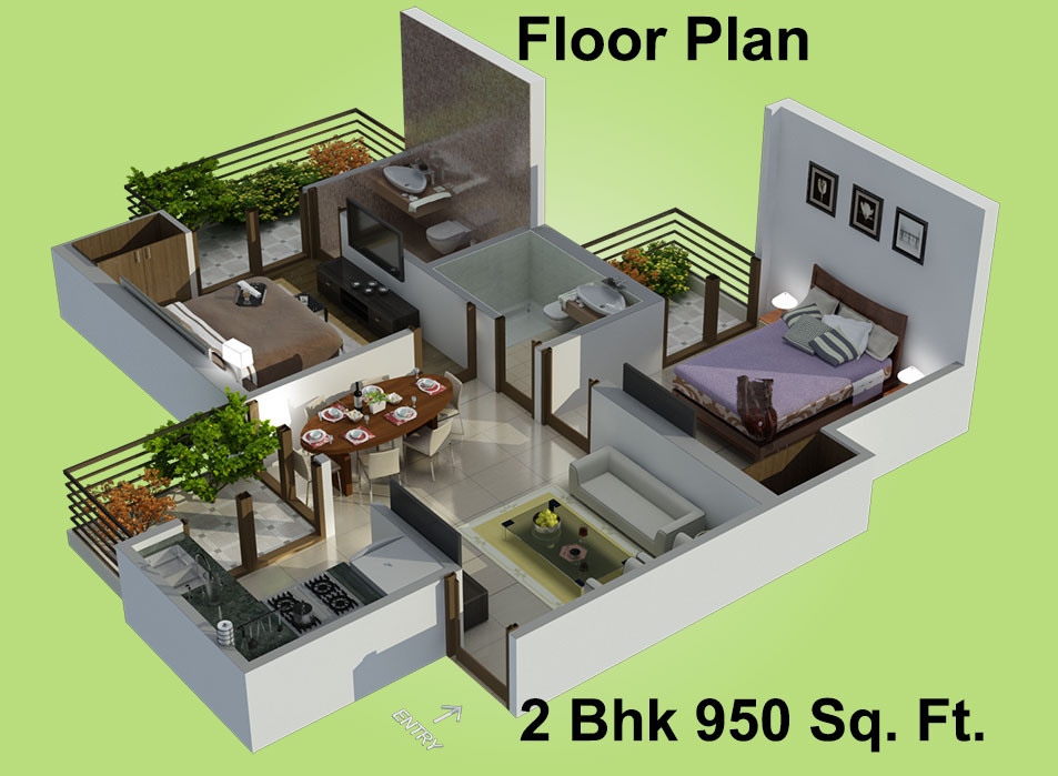 House Floor Plan Designer 950 Sq Ft 2 Bhk 2t Apartment