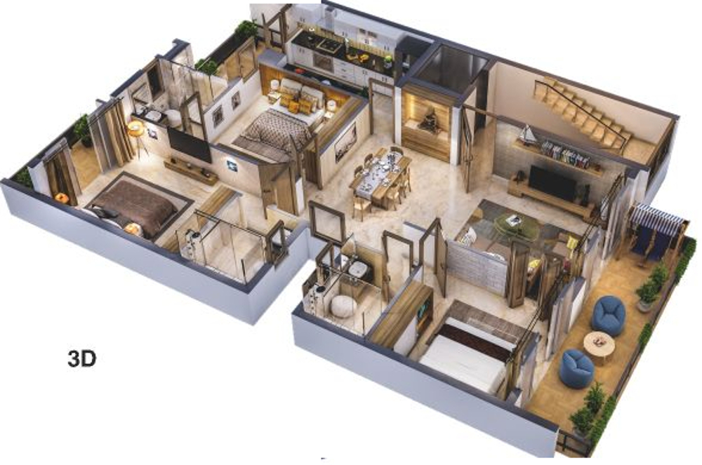 2443 Sq Ft 3 Bhk 3t Apartment For Sale In Adani Group