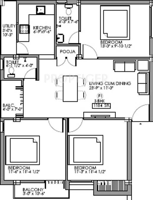 1300 Sq Ft 3 Bhk 2t Apartment For Sale In Vijay Gayathri