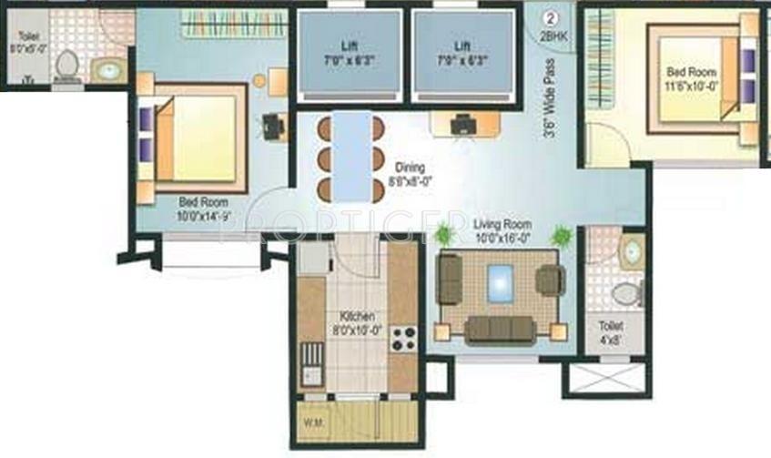 2 bhk 2t apartment for sale in neelam realtors shree for Floor plans for realtors