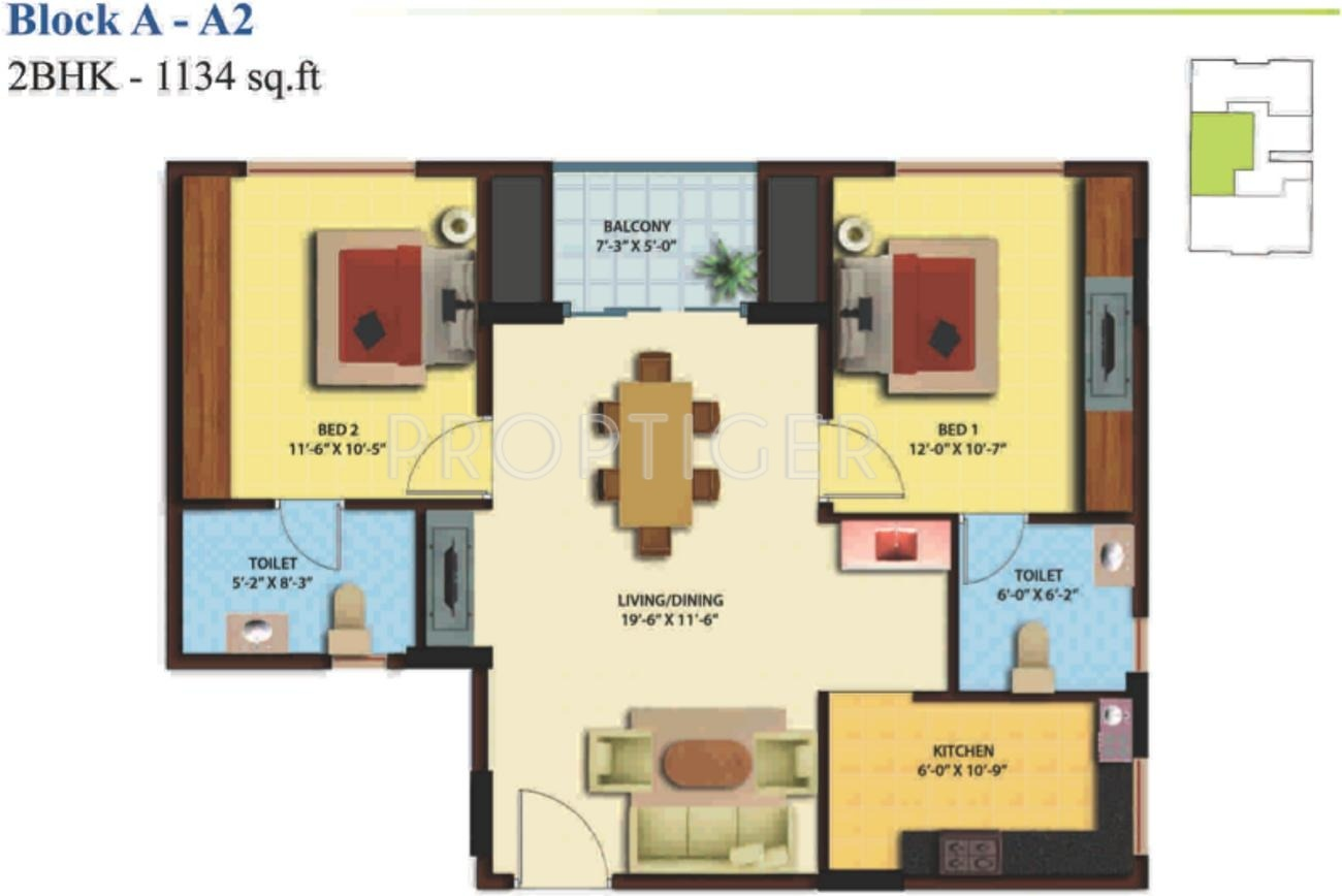 1134 sq ft 2 bhk 2t apartment for sale in ganga chennai for Apartment plans chennai