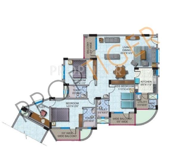 HM World City (3BHK+3T (2,049 sq ft) 2049 sq ft)