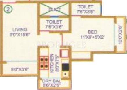 720 Sq Ft Apartment Floor Plan Of 720 Sq Ft 1 Bhk 1t Apartment For Sale In Shree Ostwal