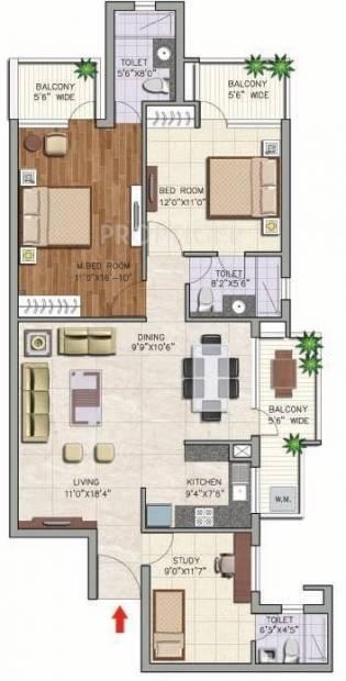 Corona Gracieux (2BHK+2T (1,550 sq ft) + Study Room 1550 sq ft)