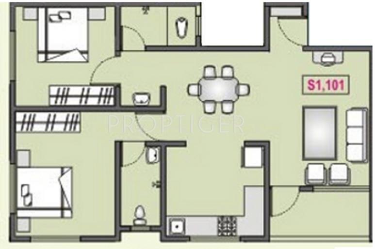 RK Navratna (2BHK+2T (1,150 sq ft) 1150 sq ft)