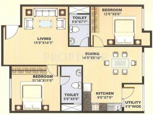 1125 sq ft 2 bhk 2t apartment for sale in blue stone homes for 1125 sq ft floor plan