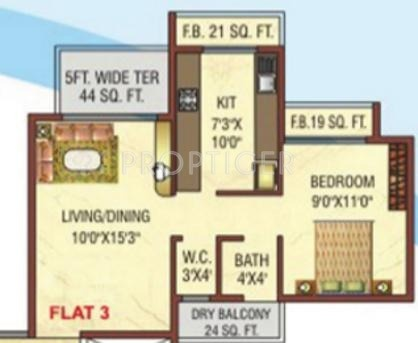 770 Sq Ft 1 Bhk 1t Apartment For Sale In Dolphin Elite