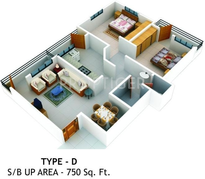 750 sq ft 2 bhk floor plan image ashoka vrindavan for Indian house plans for 750 sq ft