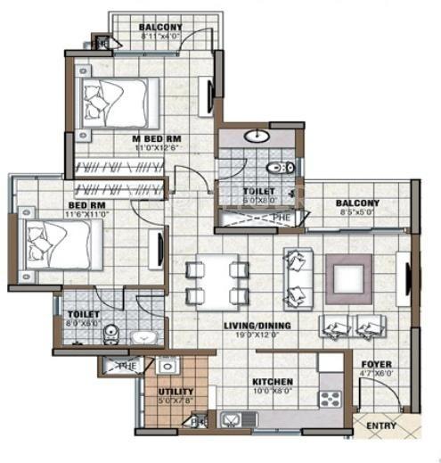 Prestige Tranquility (2BHK+2T (1,149 sq ft) 1149 sq ft)