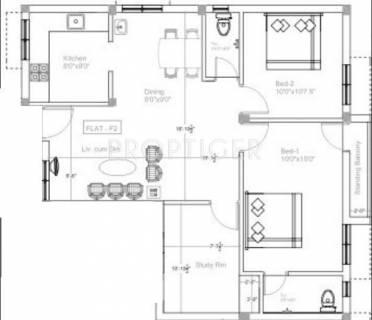 800 sq ft 2 BHK Floor Plan Image - Sri