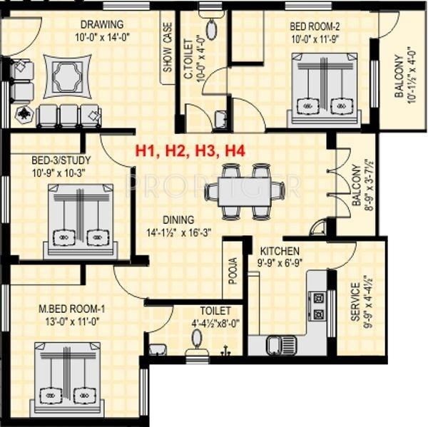 BSR GLN Residency (3BHK+2T (1,342 sq ft) 1342 sq ft)