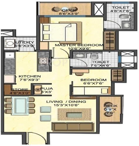 891 sq ft 2 bhk floor plan image lodha group casa rio for Sq ft prezzo per costruire casa