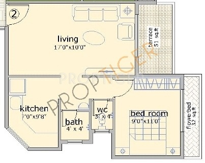 720 sq ft 1 bhk 1t apartment for sale in satyam developers for 720 sq ft apartment floor plan
