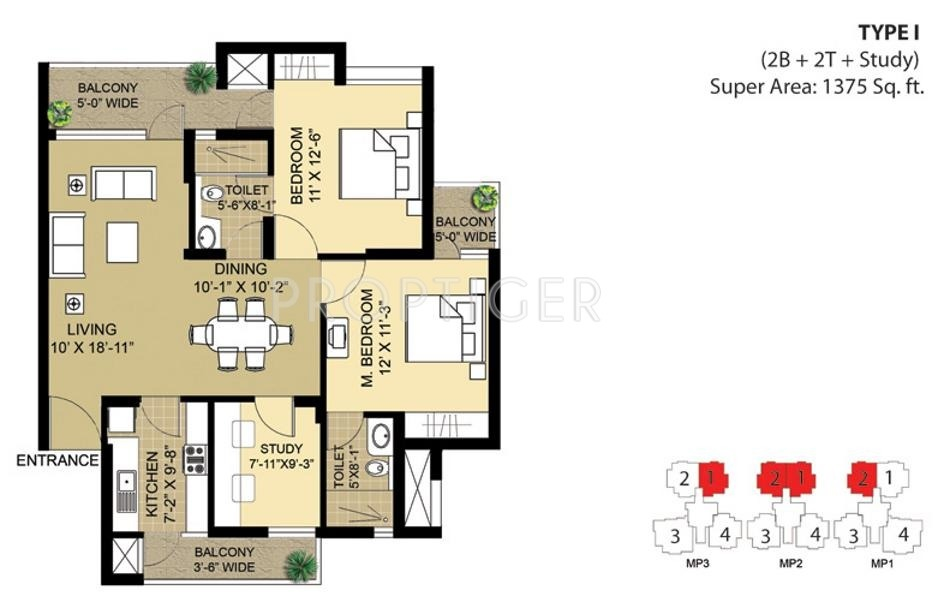 1375 sq ft 2 bhk 2t apartment for sale in eldeco group