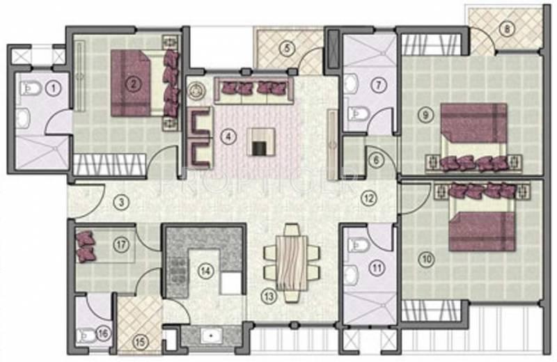 Jaypee Kensington Park Apartments (3BHK+3T (1,525 sq ft) 1525 sq ft)