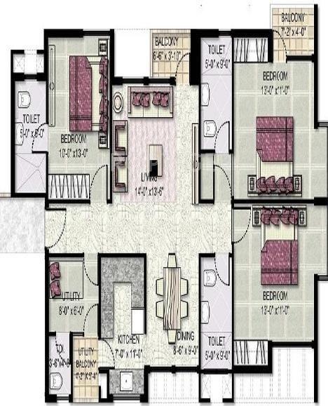 Jaypee Kensington Park Apartments (3BHK+3T (1,550 sq ft) 1550 sq ft)