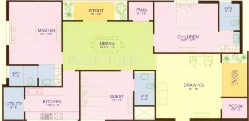 Ven Six Seasons (3BHK+3T (2,205 sq ft)   Pooja Room 2205 sq ft)