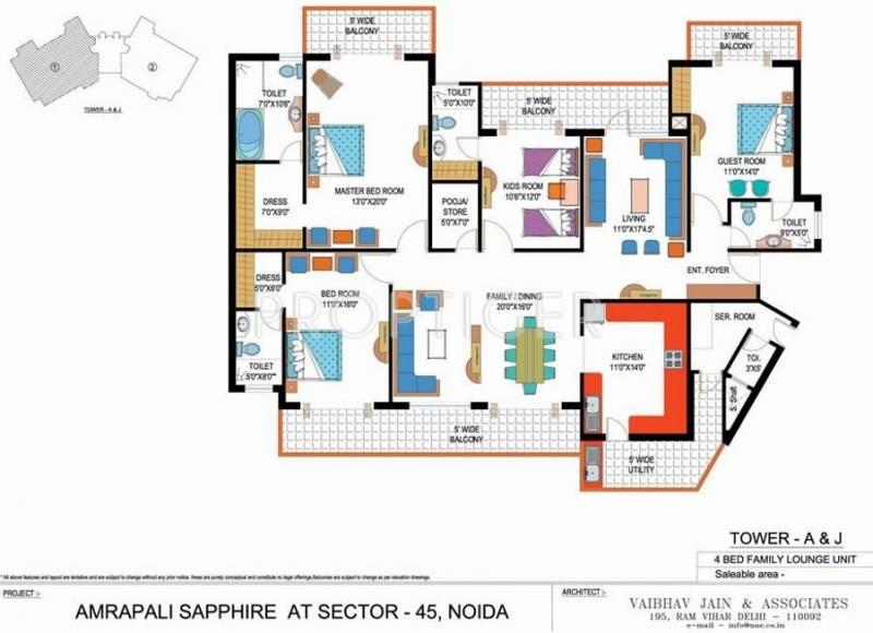 Amrapali Sapphire (4BHK+4T (3,075 sq ft) + Servant Room 3075 sq ft)