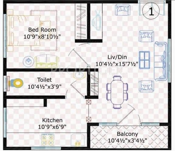 500 sq ft 1 bhk 1t apartment for sale in sivani developers - 500 square feet apartment floor plan ...