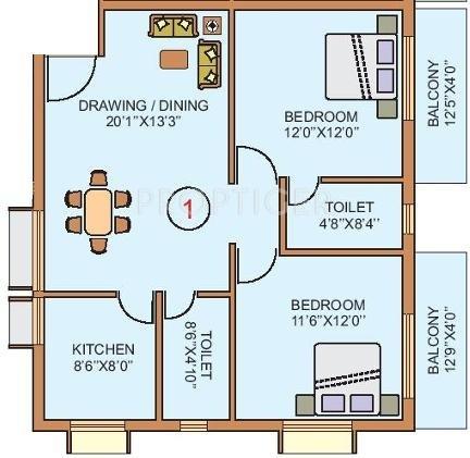 Shogun Srusti Elite (2BHK+2T (1,146 sq ft) + Pooja Room 1146 sq ft)