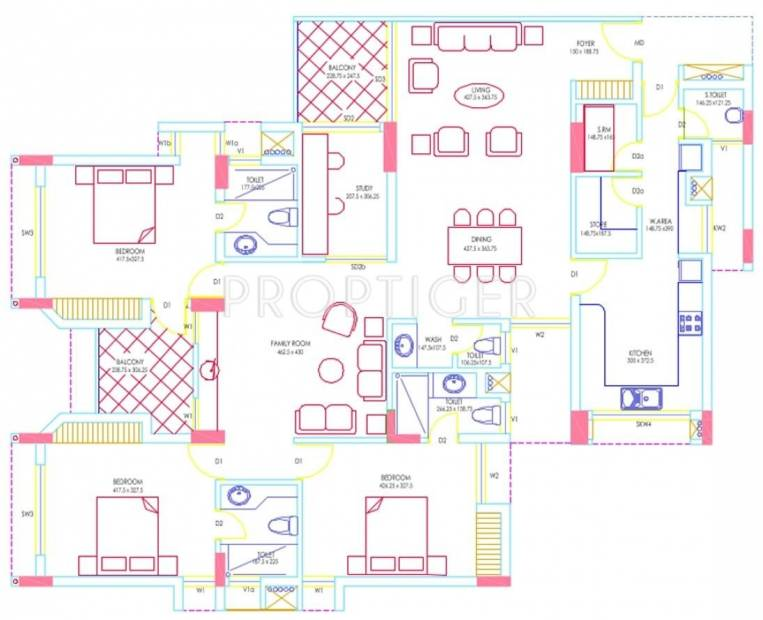 RDS Project Avenue One Floor Plan (3BHK+5T + Study Room)
