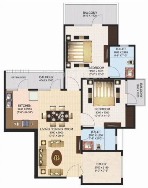 Aims Green Avenue (2BHK+2T (1,150 sq ft) + Study Room 1150 sq ft)