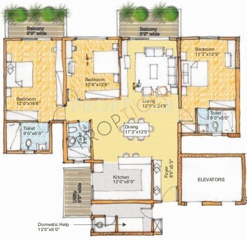 Spectra Cypress (3BHK+3T (1,990 sq ft) + Servant Room 1990 sq ft)